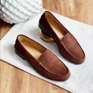 TOD'S Gommino Suede Flat Loafer Brown Size 7